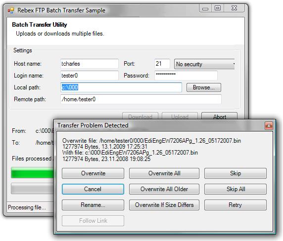 FTP batch transfer - Rebex NET