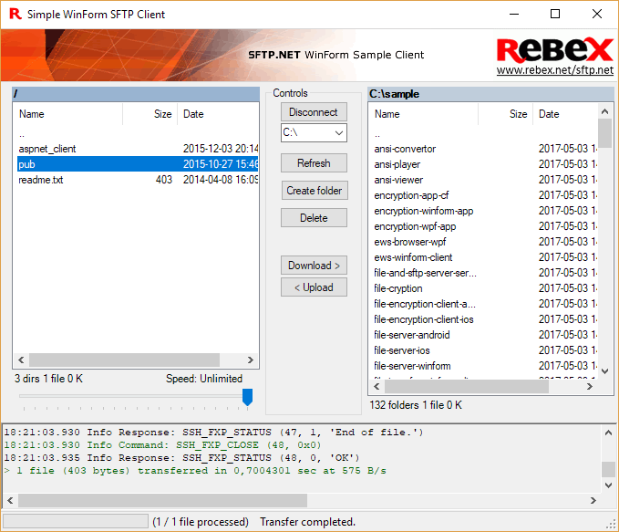 Rebex SFTP - SFTP and SCP client library for  NET - Rebex NET