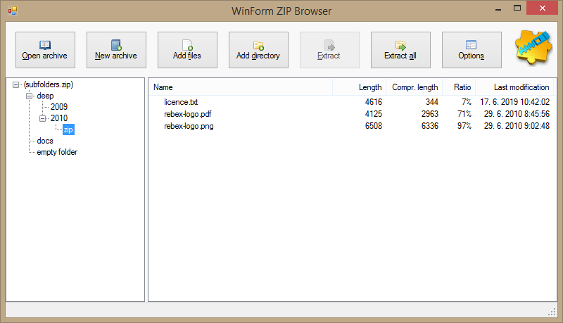 Rebex ZIP - ZIP and GZIP compression library for  NET